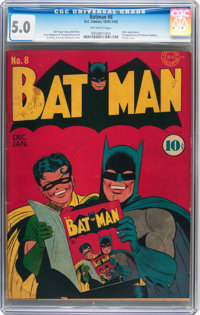 Batman #8 (DC, 1942) CGC VG/FN 5.0 Off-white pages