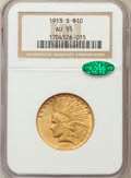 Indian Eagles, 1913-S $10 AU55 NGC. CAC....