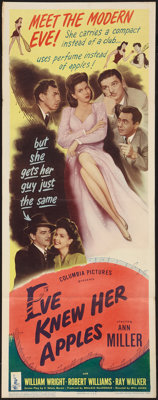 """Eve Knew Her Apples (Columbia, 1945). Insert (14"""" X 36""""). Musical"""