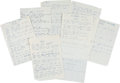"Music Memorabilia:Memorabilia, John Entwistle ""You"" Unpublished Handwritten Lyrics (undated)....(Total: 8 Items)"