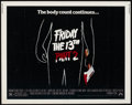 "Movie Posters:Horror, Friday the 13th Part II (Paramount, 1981). Half Sheet (22"" X 28""). Horror.. ..."