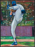 Baseball Collectibles:Others, Nolan Ryan Original Oil Painting. ...