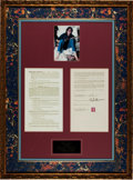 Music Memorabilia:Autographs and Signed Items, Beatles - John Lennon Signed Agreement Display....