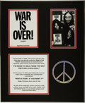 "Music Memorabilia:Memorabilia, Beatles - John Lennon ""War is Over"" Postcard Display...."