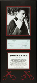 Music Memorabilia:Autographs and Signed Items, Johnny Cash Signed Check....