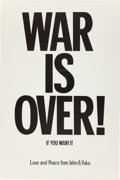 Music Memorabilia:Posters, Beatles Related - John Lennon and Yoko Ono War Is Over Poster (1971)....