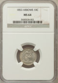 Seated Dimes: , 1853 10C Arrows MS64 NGC. NGC Census: (164/119). PCGS Population(148/121). Mintage: 12,078,010. Numismedia Wsl. Price for ...