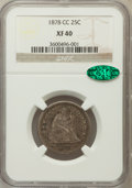Seated Quarters: , 1878-CC 25C XF40 NGC. CAC. NGC Census: (7/208). PCGS Population(10/237). Mintage: 996,000. Numismedia Wsl. Price for probl...