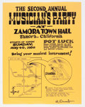 Original Comic Art:Miscellaneous, Robert Crumb Signed Second Annual Zamora Town Hall Musician's PartyFlyer (1980)....