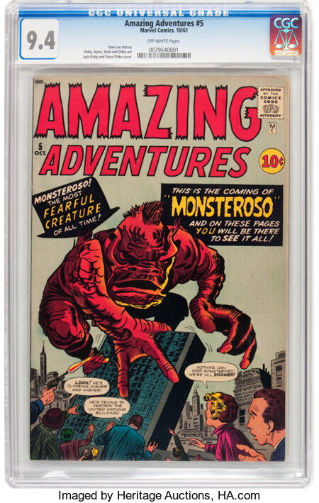Amazing Adventures #5 (Marvel, 1961) CGC NM 9.4 Off-white pages....