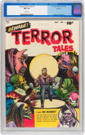 Golden Age (1938-1955):Horror, Beware Terror Tales #1 Spokane pedigree (Fawcett Publications,1952) CGC NM 9.4 White pages....