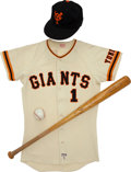 Baseball Collectibles:Uniforms, 1977 Sadaharu Oh Game Worn Yomiuri Giants Jersey with Cap, Game Used Bat....