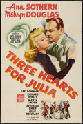 "Movie Posters:Comedy, Three Hearts for Julia (MGM, 1943). One Sheet (27"" X 41""). Comedy....."