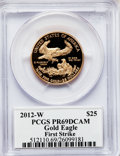 Modern Bullion Coins, 2012-W $25 Half-Ounce Gold Eagle, Insert autographed By John M.Mercanti,12th Chief Engraver of the U.S. Mint, First Strike P...