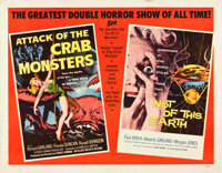 """Attack of the Crab Monsters/Not of This Earth Combo (Allied Artists, 1957). Half Sheet (22"""" X 28""""). Science Fi..."""