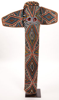 A WESTERN CAMEROON BEADED MASK Bamileke, 20th century 46-1/2 inches high (118.1 cm) (with stand)