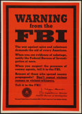 "Movie Posters:War, World War II Propaganda (U.S. Government Printing Office, 1943).Poster (20"" X 28"") OWI Poster No. 74. ""Warning from the FBI..."