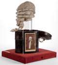 Decorative Arts, British:Other , A CASED ENGLISH BARRISTER'S WIG . 19th century . 22-1/2 inches highx 16-1/2 inches long x 14-3/4 inches wide (57.2 x 41.9 x...