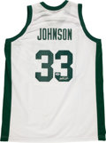 Basketball Collectibles:Uniforms, Magic Johnson Signed Michigan State Spartans Jersey....