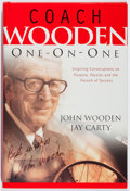 Books:Biography & Memoir, John Wooden. SIGNED. Coach Wooden: One-on-One. Regal, 2003. First edition, first printing. Signed by the author. ...