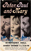 Music Memorabilia:Posters, Peter Paul and Mary Signed Concert Poster (1965)....
