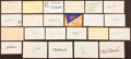 Baseball Collectibles:Others, Baseball Greats Signed Index Cards Lot of 23....