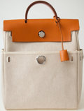 Luxury Accessories:Bags, Heritage Vintage: Hermes Her Bag Sand Backpack with PalladiumHardware. ...