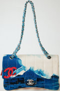 Luxury Accessories:Bags, Heritage Vintage: Chanel Surf Line Fabric Flap Bag with Silver Hardware. ...