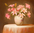 Fine Art - Painting, American:Contemporary   (1950 to present)  , MELINDA WARING (American, 20th Century). Still Life withLilies. Oil on canvas. 20 x 21 inches (50.8 x 53.3 cm). Signed...