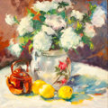 Fine Art - Painting, American:Contemporary   (1950 to present)  , LINDA R. ST. CLAIR (American, b. 1952). Floral Still Life, 2000. Oil on canvas . 24 x 24 inches (61.0 x 61.0 cm). Signed...