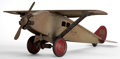 Decorative Arts, American, AN AMERICAN STEELCRAFT PATINATED METAL MODEL AIRPLANE . Circa 1920.Marks: STEELCRAFT, MURRAY, OH MFG. CO., CLEVE. O. U.S....