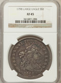 Early Dollars: , 1798 $1 Large Eagle, Pointed 9 XF45 NGC. NGC Census: (198/324).PCGS Population (142/205). Mintage: 327,536. Numismedia Wsl...