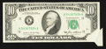 Error Notes:Foldovers, Fr. 2027-K $10 1985 Federal Reserve Note. About Uncirculated.. ...
