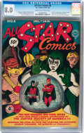 All Star Comics #8 (DC, 1942) CGC VF 8.0 Cream to off-white pages