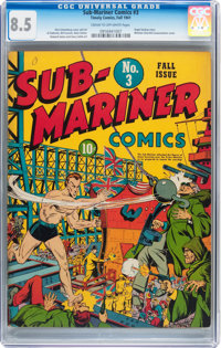 Sub-Mariner Comics #3 (Timely, 1941) CGC VF+ 8.5 Cream to off-white pages