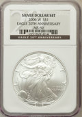 Modern Bullion Coins, 2006-W $1 20th Anniversary Silver Eagle Set NGC. The set includes:2006-W MS69, 2006-P Reverse Proof PR69 and a 2006-W PR69 ...(Total: 3 coins)