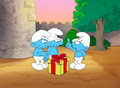 Animation Art:Production Drawing, The Smurfs Production Cel with Background Animation Art(Hanna-Barbera, 1983)....