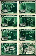"Movie Posters:Serial, The Green Hornet Strikes Again (Universal, 1941). Lobby Card Set of8 (11"" X 14""). Chapter 2-- ""The Plunge of Peril."". ... (Total: 9Items)"
