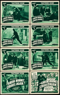 "The Green Hornet Strikes Again (Universal, 1941). Lobby Card Set of 8 (11"" X 14""). Chapter 5 -- ""Shatteri..."