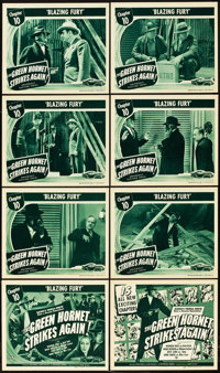 "The Green Hornet Strikes Again (Universal, 1941). Lobby Card Set of 8 (11"" X 14""). Chapter 10 -- ""Blazing..."