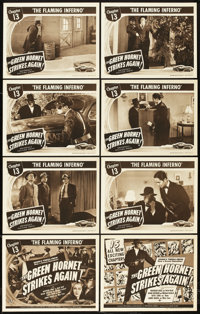 "The Green Hornet Strikes Again (Universal, 1941). Lobby Card Set of 8 (11"" X 14""). Chapter 13 -- ""The Fla..."