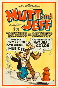 "Mutt and Jeff in Mixing in Mexico (Screen Attractions Corp., R-1930). One Sheet (27"" X 41"")"