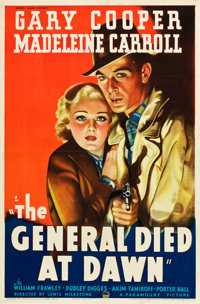 "The General Died at Dawn (Paramount, 1936). One Sheet (27"" X 41"") Style A"