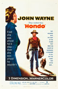 "Movie Posters:Western, Hondo (Warner Brothers, 1953). One Sheet (27"" X 41"") 3-D Style....."