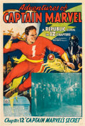 "Movie Posters:Serial, Adventures of Captain Marvel (Republic, 1941). One Sheet (27"" X41""). Chapter 12 -- ""Captain Marvel's Secret."". ..."