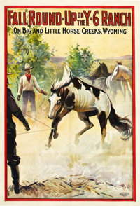 "Fall Round-Up on the Y-6 Ranch (Cheyenne Feature Film Company, 1911). One Sheet (28"" X 42"")"