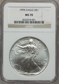 Modern Bullion Coins: , 1995 $1 Silver Eagle MS70 NGC. NGC Census: (433). PCGS Population(1). Mintage: 4,672,051. Numismedia Wsl. Price for proble...