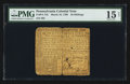 Colonial Notes:Pennsylvania, Pennsylvania March 10, 1769 20s PMG Choice Fine 15 Net.. ...