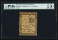 Colonial Notes:Pennsylvania, Pennsylvania October 1, 1773 15s PMG About Uncirculated 53 Net.....