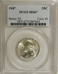 Washington Quarters: , 1947 25C MS67 PCGS. PCGS Population (52/0). NGC Census: (179/1).Mintage: 22,556,000. Numismedia Wsl. Price for NGC/PCGS co...